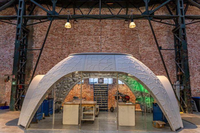 back of 3D-printed dome pavilion