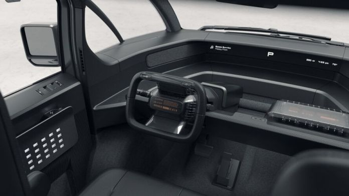 rendering of dashboard and steering wheel inside electric pickup trucl