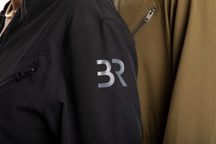 BR logo on sleeve of jumpsuit