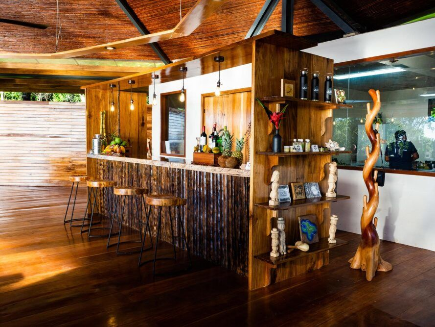 hotel bar with wood counter