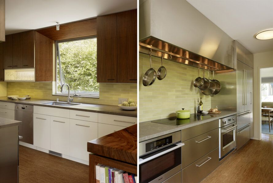 To the left, a window above a kitchen sink surrounded by wood cabinets. To the right, stainless steel appliances in a kitchen with wood floors.