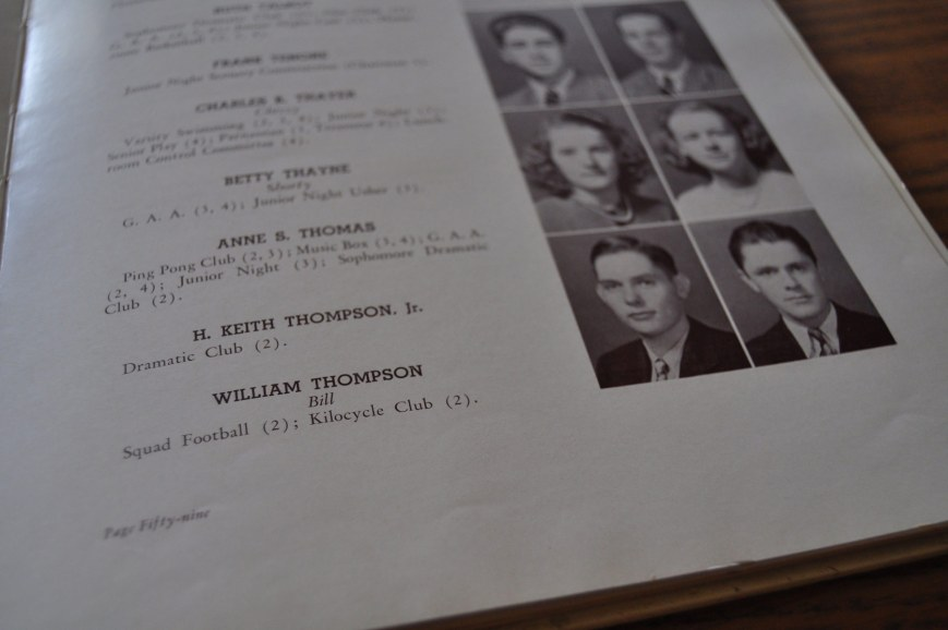 Keith Thompson's picture in Columbia High School Yearbook, The Mirror. 1940.
