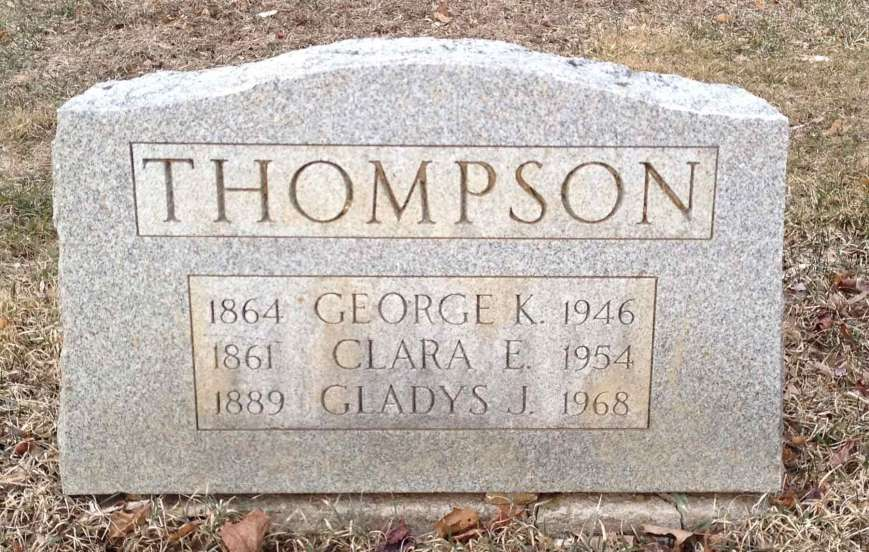 "George Knox, Claira Keith, and Gladys Thompson's grave marker. It's located in the ""old section"" of Hilltop Cemetery in Mendham, NJ."
