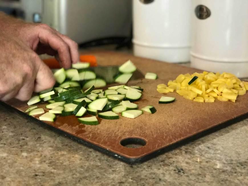 Chop 1 zucchini for the chicken pot pie
