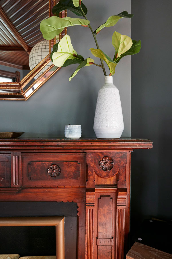 Jess Davis, owner of Nest Studio, exotic floral arrangement in her South Orange NJ Victorian