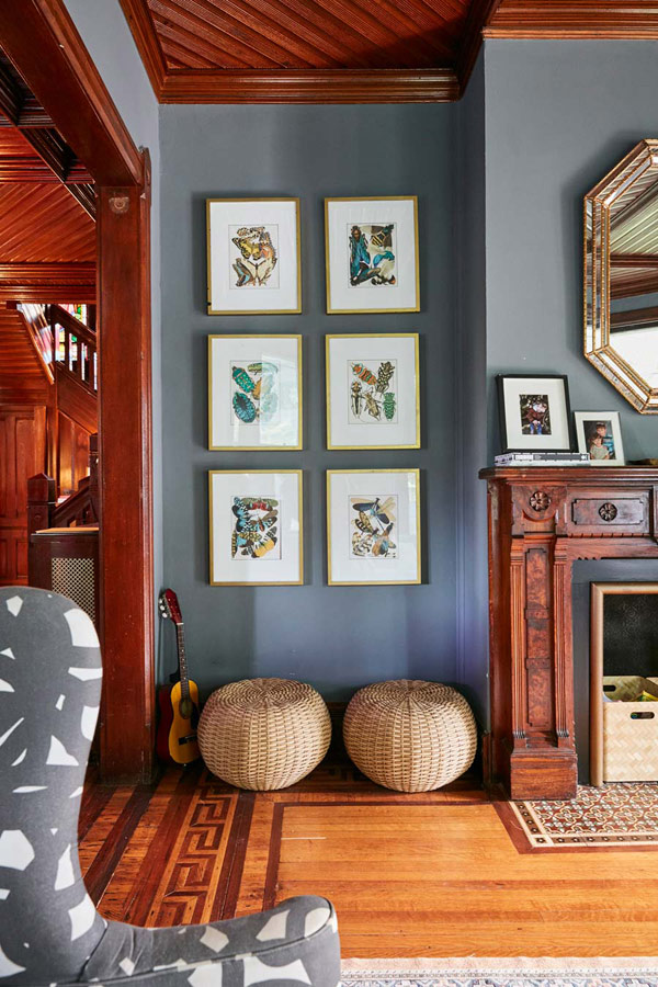 Jess Davis, owner of Nest Studio, wall art vignette in her South Orange NJ Victorian