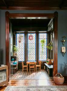 Jess Davis, owner of Nest Studio, sun room turned a place for arts and crafts in her South Orange NJ Victorian