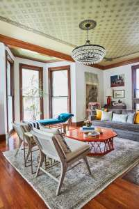 Jess Davis, owner of Nest Studio, living room interior design in her South Orange NJ Victorian