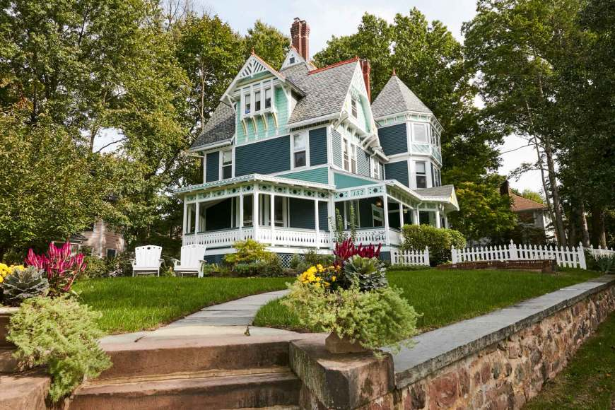 Jess Davis, owner of Nest Studio, South Orange NJ Eastlake-style Victorian home.