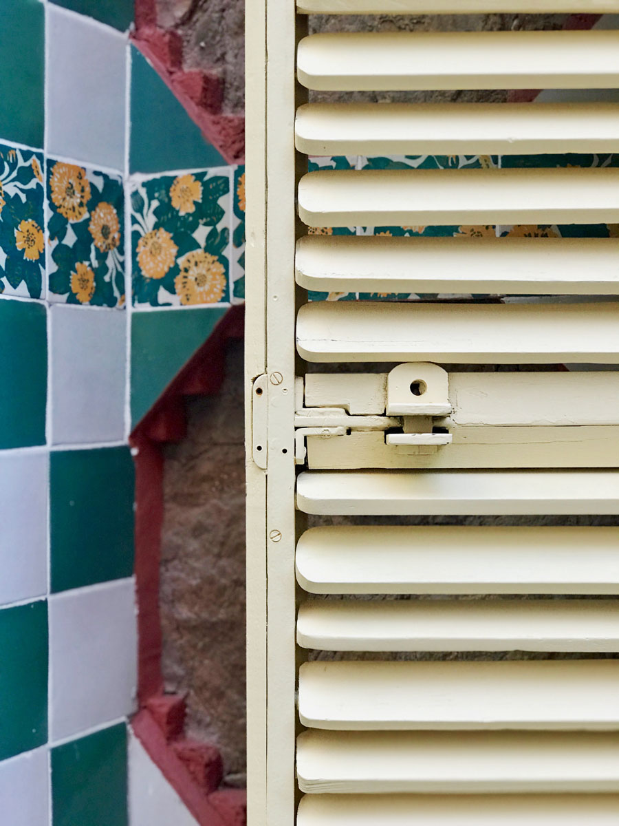 Gaudi's Vicens Home in Barcelona featuring a cream-colored shutter