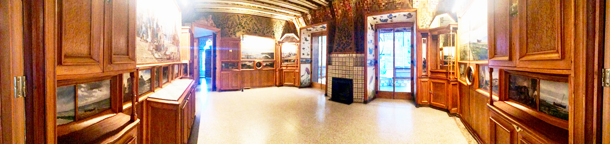 Pan of the First Floor of Gaudi's Vicens Home in Barcelona, Spain.