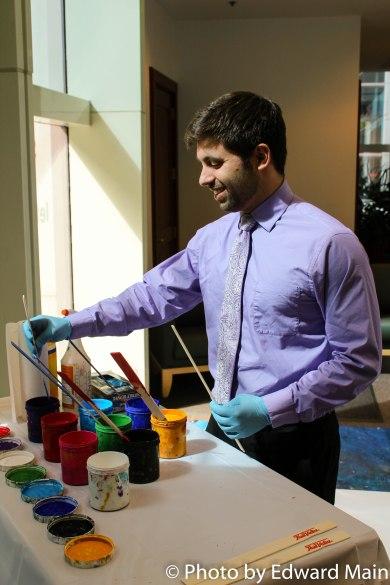 Staffer Stephen Morelli prepares for OPEN HOUSE #artroom @letsgoarts