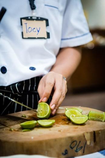 Chopping Kaffir Limes
