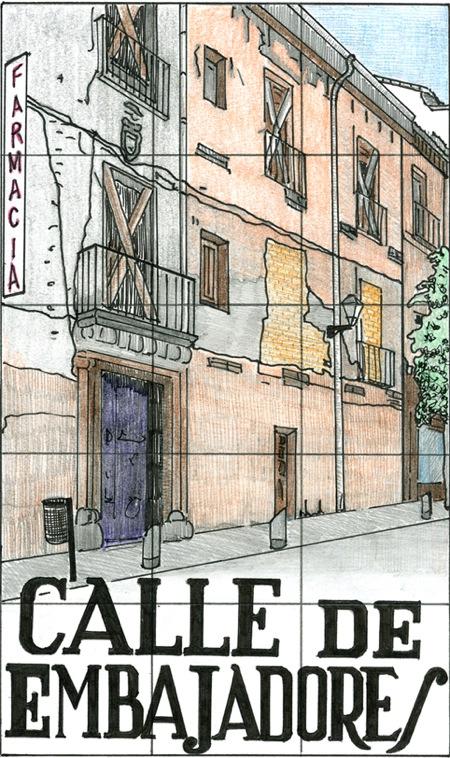 Placa de la calle Embajadores, por Diana Larrea