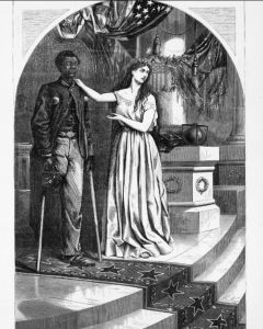 Clip art of American allegorical figure Columbia speaking for the Black soldier