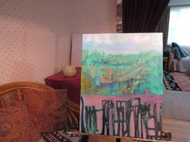 Author Page easel with painting in progress to illustrate poem the culture