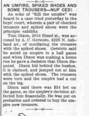 Newspaper clipping of umpire's trousers attacked