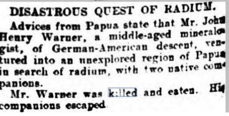 Newspaper clipping man eaten by cannibals while looking for radium