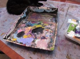 Author Page pallette with oil paints showing painting method