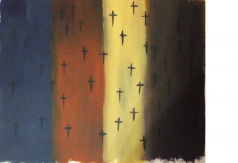 Acrylic painting of black crosses over flag-like stripes