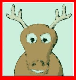 Cartoonish image of reindeer