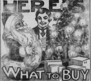 Newspaper advertisement with Santa making scheming hand gestures