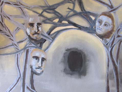 Oil painting three faces twisted branches and tunnel