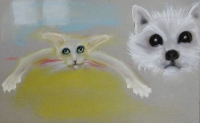 Pastel drawing of cat and dog