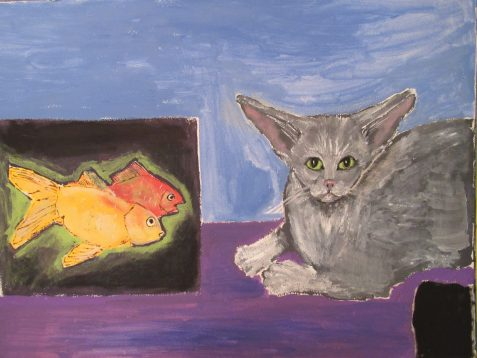 Oil painting of long eared cat with goldfish