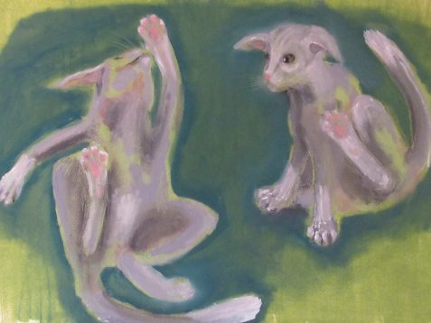 OIl painting of cat scratching fleas