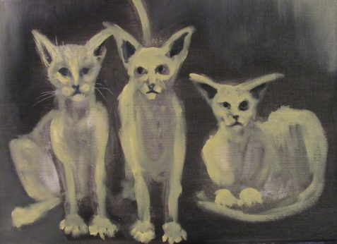 Oil painting of three bony alley cats