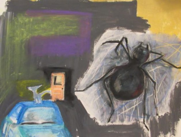 Pastel drawing of spider in corner cat on top of car