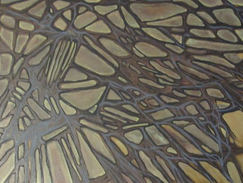 Oil painting of abstract tree branches