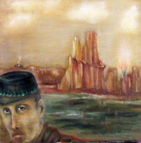 Oil painting of soldier in kepi before dramatic rock formations
