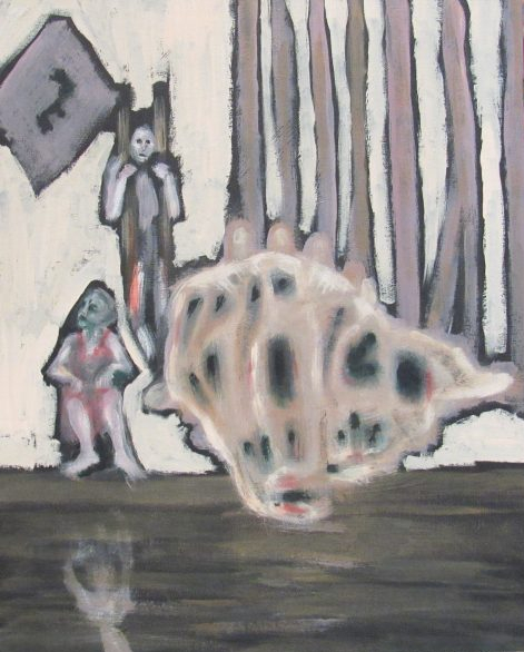 Oil painting of woman at pondside and man behind bars