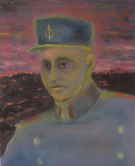 Oil painting of soldier in kepi and brass-buttoned uniform