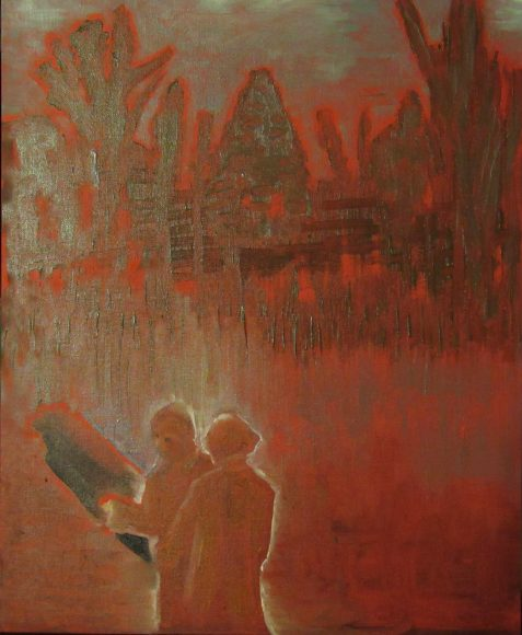 Oil painting of couple looking at hole in ground