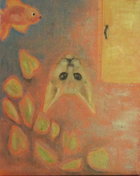 Oil painting of upside down cat face and goldfish
