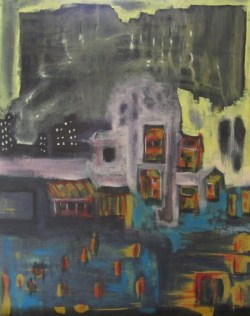 Oil painting of city inundated by flood waters