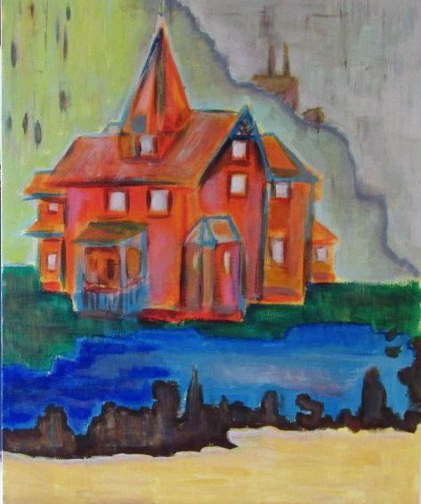 Oil painting of orange Gothic house and factory