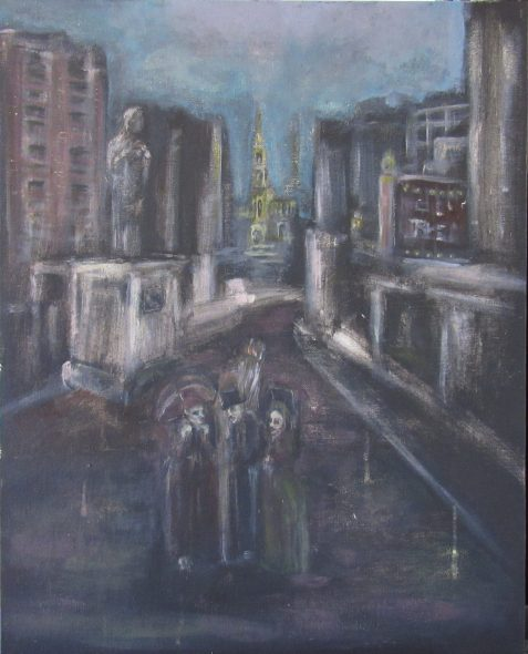 Oil painting of city street with Victorian ghosts