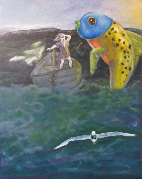 Oil painting of fisherman's boat being swamped by magic fish