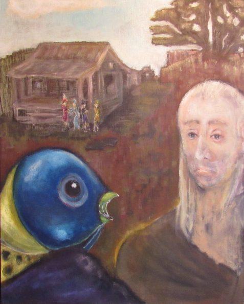Oil painting of magic fish at fisherman's shanty