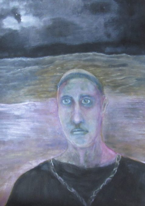Oil painting of staring-eyed man before dramatic night sea