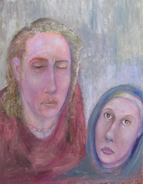 Oil painting of sad man and serene woman wearing medieval clothing