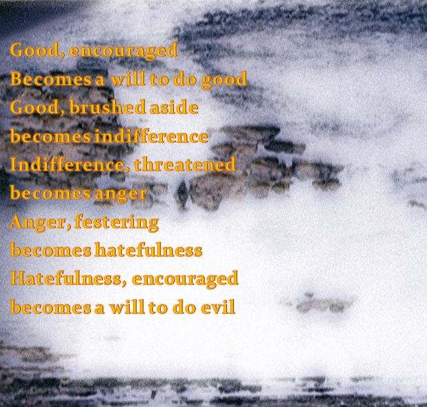 Slide with text and art words about goodness