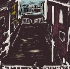 Abstract city street scene with barricades