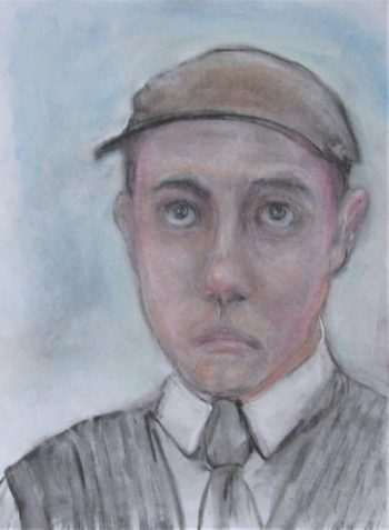 Pastel drawing of youth in cap, tie, and sweater vest