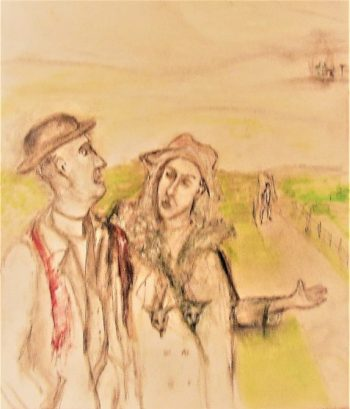 Tattersby man and woman followed by her jealous suitor art for Dougal Inskip's Lonely Vigil