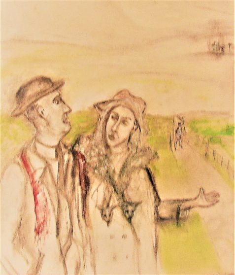 Pastel drawing of couple feeling anxious and irritated followed by woman's rejected admirer